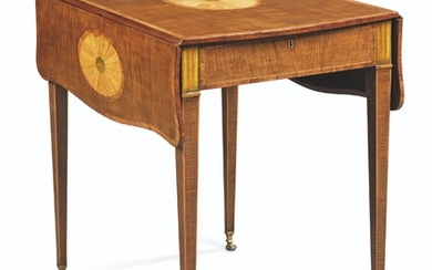 A GEORGE III HAREWOOD AND MARQUETRY PEMBROKE TABLE