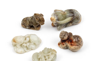 A GROUP OF FIVE JADE ANIMALS