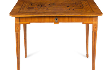 A German Fruitwood Crossbanded and Marquetry Side Table