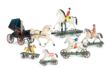 A Group of Six Pressed and Painted Tin Horse and Farm Animal Form Pull Toys