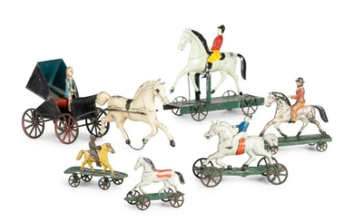 A Group of Six Pressed and Painted Tin Horse and Farm