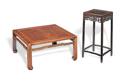 A HARDWOOD LOW SQUARE TABLE AND A HARDWOOD CARVED SQUARE STAND