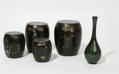 A Japanese nesting tea container & enameled vase