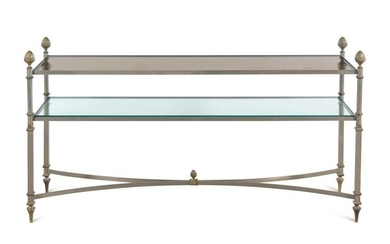 A Neoclassical Style Gilt Metal and Glass Console Table