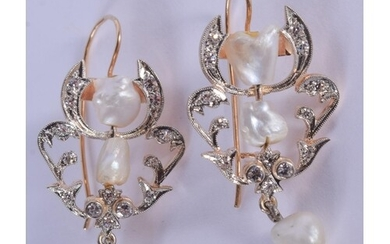 A PAIR OF 14CT GOLD BAROQUE PEARL AND DIAMOND EARRINGS. 4 cm...