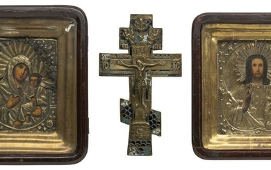 A PAIR OF WEDDING ICONS WITH OKLAD WITHIN KYOT AND A