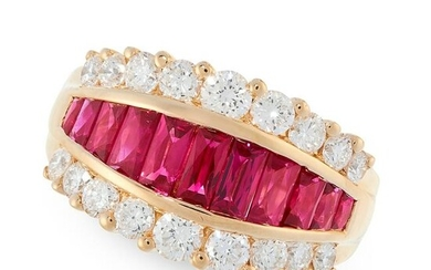 A RUBY AND DIAMOND DRESS RING in 18ct yellow gold, set