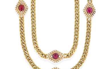 A Ruby and Diamond Necklace, three clusters formed of...