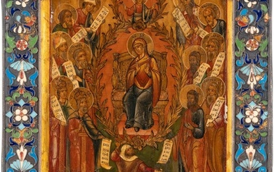A SMALL ICON SHOWING THE PRAISE OF THE MOTHER OF GOD (THE P