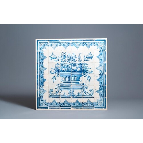 A blue and white Portuguese tile mural depicting an urn fill...