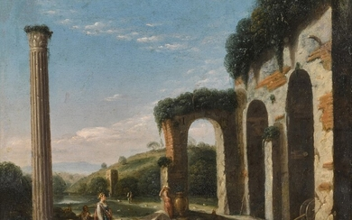 A capriccio landscape with figures beside ancient ruins and a column, Roman School, early 17th century