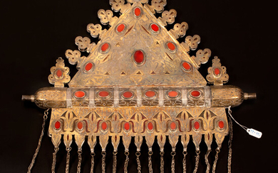 A large and impressive gilded silver and textile Tumar amulet chest ornament - Turkestan1870-1920