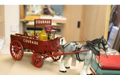 A model of a Courage advertising show dray, with ceramic shi...