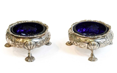 A pair of Victorian silver salt cellars, by Henry...