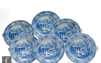 A set of six 19th Century blue and white transfer decorated ...