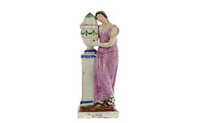 AN EARLY 19TH CENTURY STAFFORDSHIRE CREAMWARE FIGURE OF ANDROMACHE