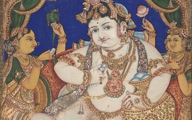 An icon of the child Krishna, Tanjore, South India, late 19th-early 20th century, opaque pigments, gold leaf and sukka (limestone paste) on cloth stretched over wood, the light-skinned god seated on a low backless throne-chair, holding a flower bud...