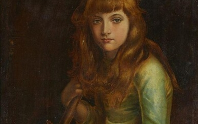 British School, late 19th Century- Portrait of a lady holding a broom and peacock feather; oil on canvas, canvas stamp 'PREPARED BY / WINSOR & NEWTON, / LIMITED / 38 RATHBONE PLACE...' (on the reverse), 67.6 x 49.2 cm.