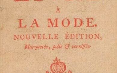 CARACCIOLI (Louis-Antoine de). The fashionable book. New edition, inlaid, polished and varnished. In Europe, at the booksellers, 100700509 [1759], XXXVIII-88 pp. Fully printed in red. Bound in the following]: The Book of Four Colors. At the...