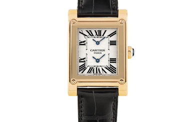 """CARTIER, PINK GOLD, """"CPCP"""" TANK A VIS, DUAL TIME"""