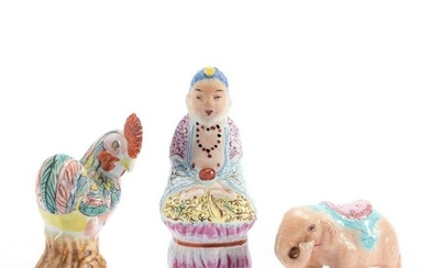 CHINESE GROUP OF 3 FAMILLE ROSE MINIATURES FIGURES