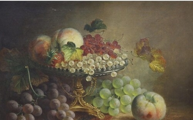 CS (19th century), oil on canvas, Still life of fruit in a t...