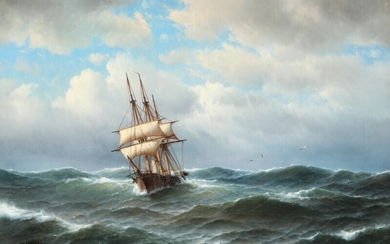 NOT SOLD. Carl Bille: Seascape with sailing ship in stormy weather. Signed and dated Carl...