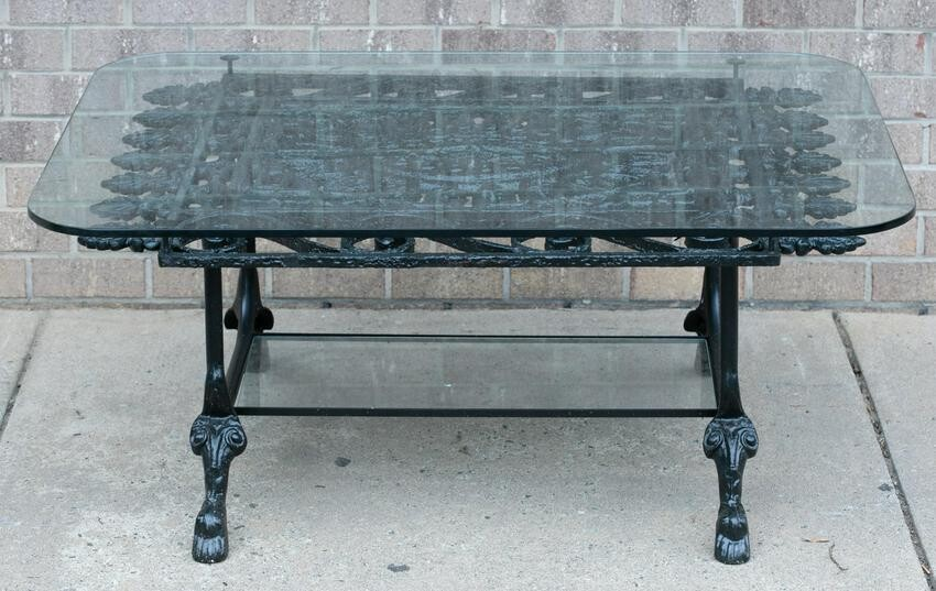 Cast iron coffee table.