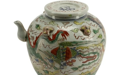 Chinese Famille Verte Porcelain Teapot with Cover.