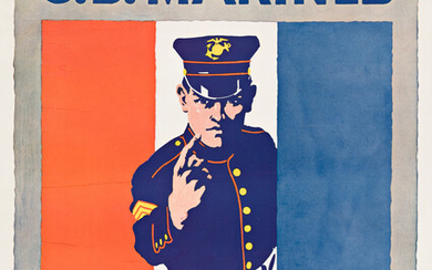 DESIGNER UNKNOWN THE US MARINES WANT YOU Circa 1917 28x21¾