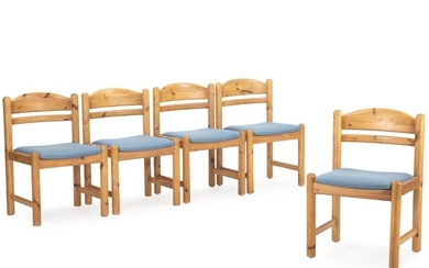 NOT SOLD. Danish furniture design: A set of five dining chairs of solid pine wood. Seat upholstered with blue wool. Designed 1960–1970s. (5) – Bruun Rasmussen Auctioneers of Fine Art