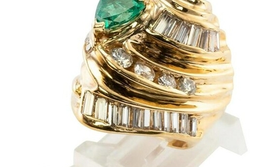 Diamond Colombian Emerald Ring 18K Gold Cocktail Band