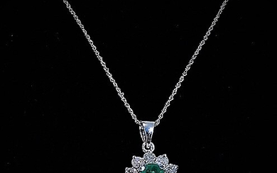 EMERALD and diamond pendant, gold 750, on chain, gold 585.