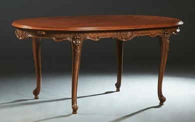 French Louis XV Style Cherry Dining Table, 20th c., the