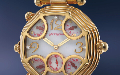 Gérald Genta, Ref. G.0027.7 A historically significant and unique pink gold automatic two train minute repeating grande and petite sonnerie tourbillon wristwatch with power reserve, diamond-set mother-of-pearl dial, bracelet and Westminster Chimes
