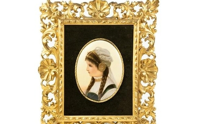 German Painting on Porcelain Girl Portrait by Wagner