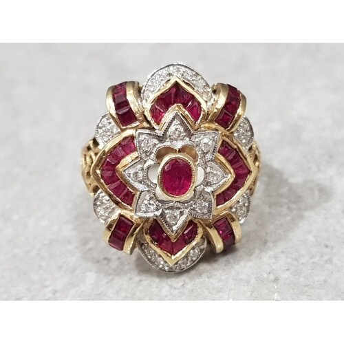 Gold art deco style ruby and diamond ring, 7.3g gross, size ...