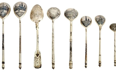 Group of Russian Silver and Niello Flatware