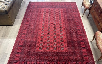 Hand knotted pure wool Afghan Bukhara carpet, approx 299cm x...