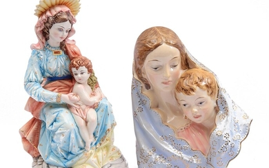 (-), Italian earthenware wall decoration Madonna with child...
