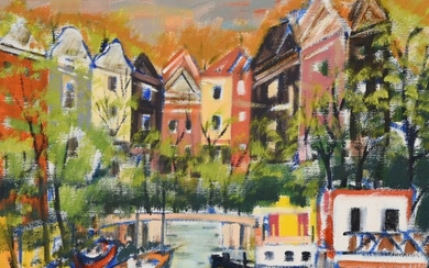 """Jacques BRENNER (1936) """"Amsterdam"""" hst wd 40x40"""