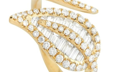 LB Exclusive 18K Yellow Gold 1.08 ct Diamond Leaf Ring