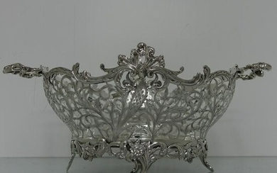 Large Sterling Silver Victorian Pierced Dish London