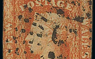 New South Wales 1854-63 Diadem Issues 1856 imperf 1d. orange-red, printed on both sides, the se...