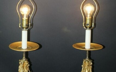 Pair French antique classical figural gilt bronze lamps