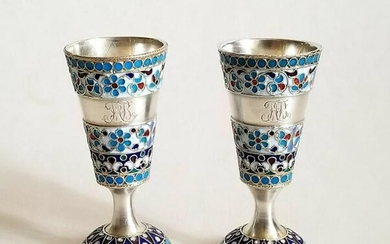 Pair of 19th C. Russian 84 Silver & Enamel Cups