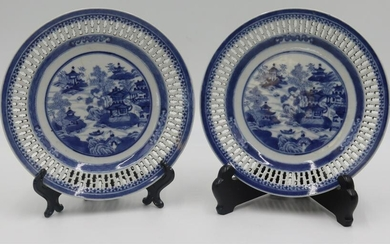 Pair of Chinese Blue and White Reticulated Plates.