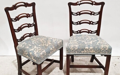 Pair of Georgian-style ladderback dining chairs with carved ...