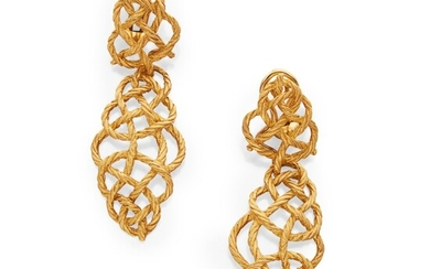 Pair of Gold Pendant-Earclips, Buccellati