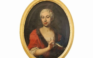 Portrait of a lady with fur trimmed dress, Pittore fiorentino mid of 18th century